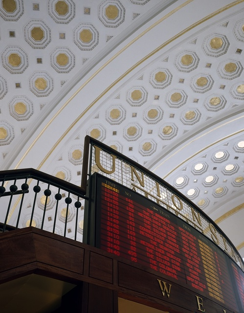 Arrival and departure sign at Washington, D.C.'s restored Union Station train terminal