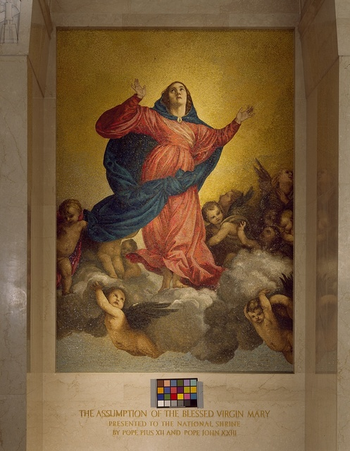 Artistic details at the Basilica of the National Shrine of the Immaculate Conception on the campus of the Catholic University of America, Washington, D.C.