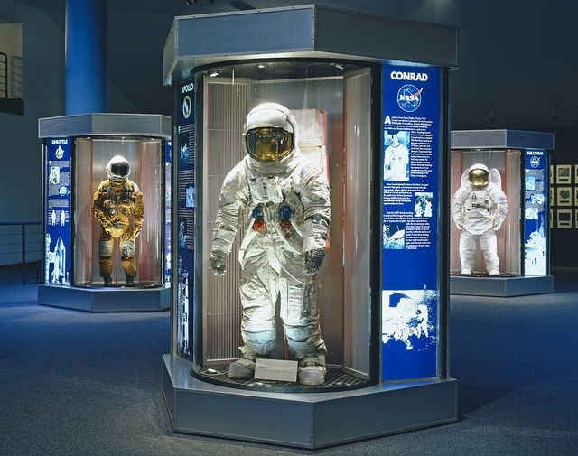 Astronauts outfits on display at the Space Center in Houston, Texas
