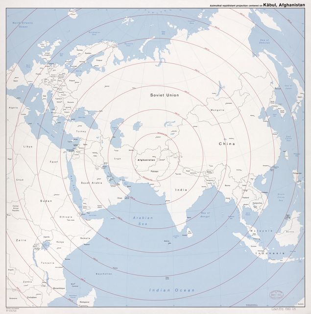 Azimuthal equidistant projection centered on Kābul, Afghanistan.