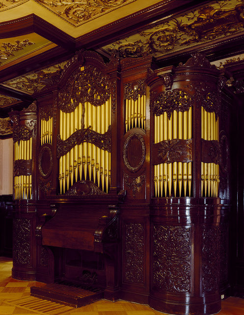 "Baroque pipe organ in the Indonesian Embassy in the lush former home of Tom Walsh, which has been described as his ""monument to overnight prosperity.""  Washington, D.C."