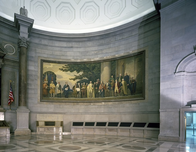 """Barry Faulkner's 1936 """"Constitution"""" mural in the rotunda of the National Archives, Washington, D.C."""