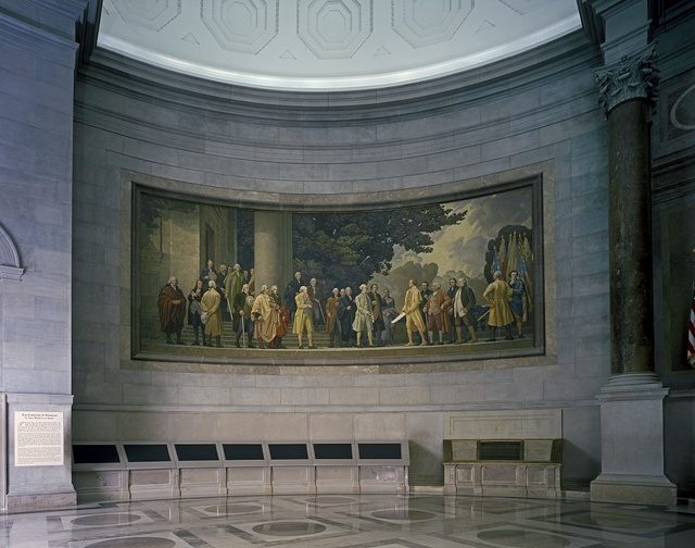 Barry Faulkner's 1936 Declaration of Independence mural in the rotunda of the National Archives, Washington, D.C.