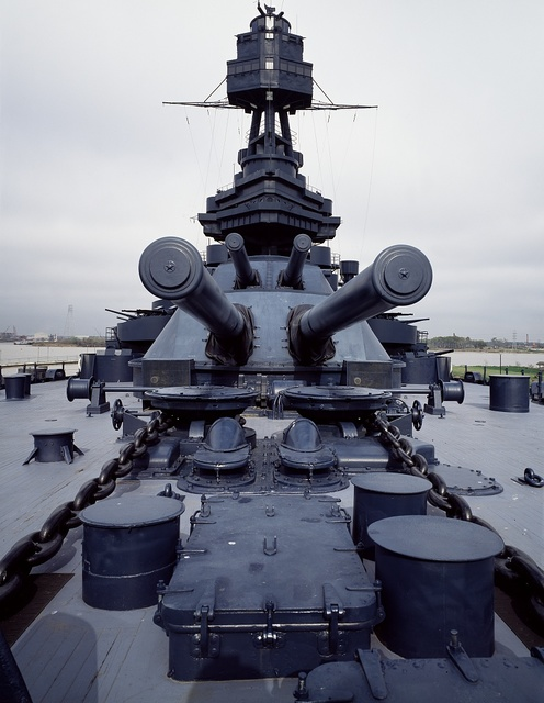 Battleship Texas, commissioned in 1912 and now moored in Houston, Texas
