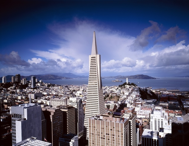Beautiful sky over Transamerica Tower, San Francisco, California