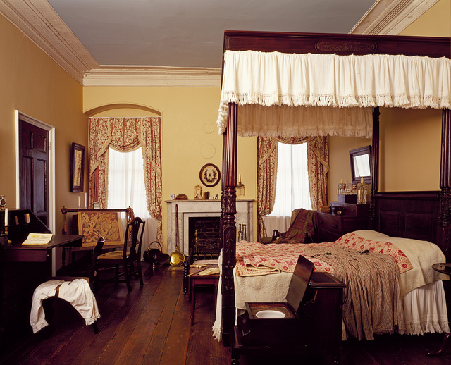 Bedroom at Arlington House, Robert E. Lee's house at Arlington Cemetery, Arlington, Virginia