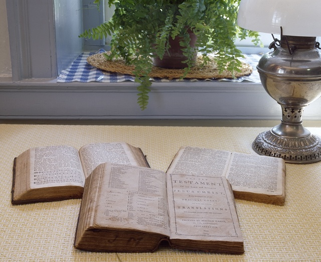 """Bibles, including the top two in German, in """"Amish Country,"""" Lancaster County, Pennsylvania"""