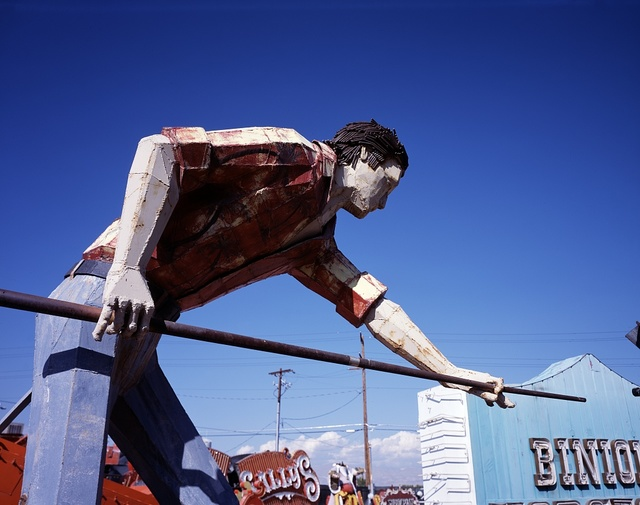 Billiards player from the old Pocket Lounge, now consigned to the city's Neon Museum Boneyard, Las Vegas, Nevada