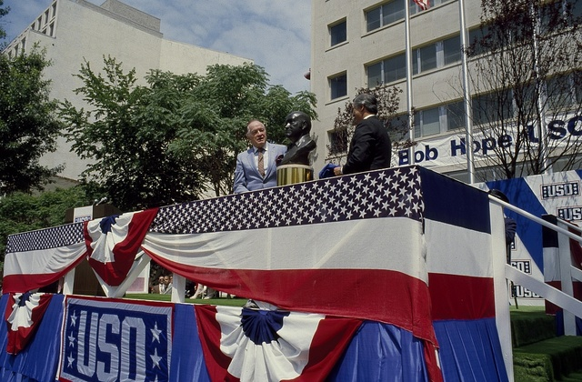 Bob Hope attends the ceremony to name the USO Headquarters the Bob Hope USO Building, Washington, D.C.