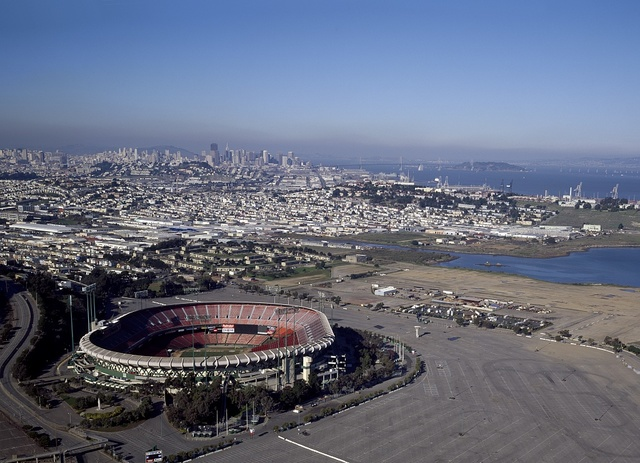 Candlestick Park in the forefront of this aerial taken of San Francisco, California