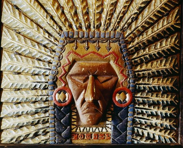 Carved warrior indian wood art at Timberline Lodge on Mount Hood, Oregon