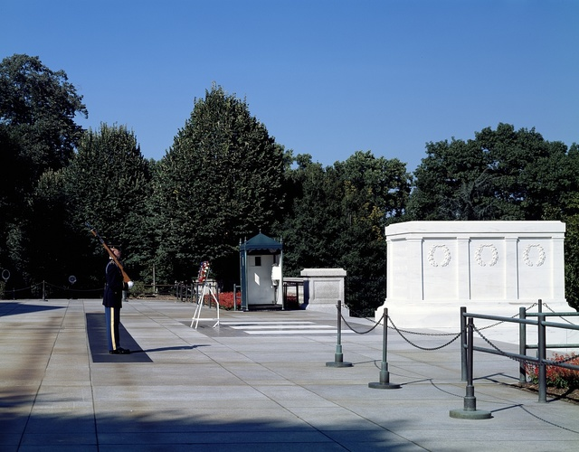 Changing of the guard at the Tomb of the Unknowns at Arlington National Cemetery, Arlington, Virginia