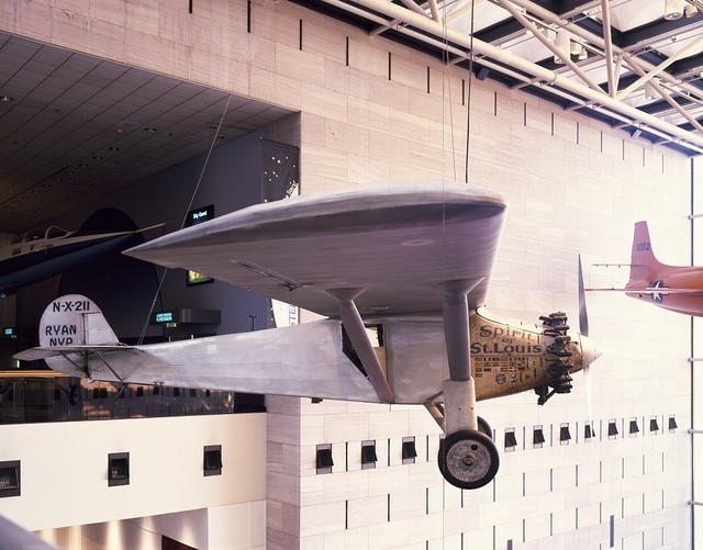 "Charles Lindbergh's ""Spirit of St Louis"" airplane, hanging at the Smithsonian Institution's Air and Space Museum on the National Mall, Washington, D.C."
