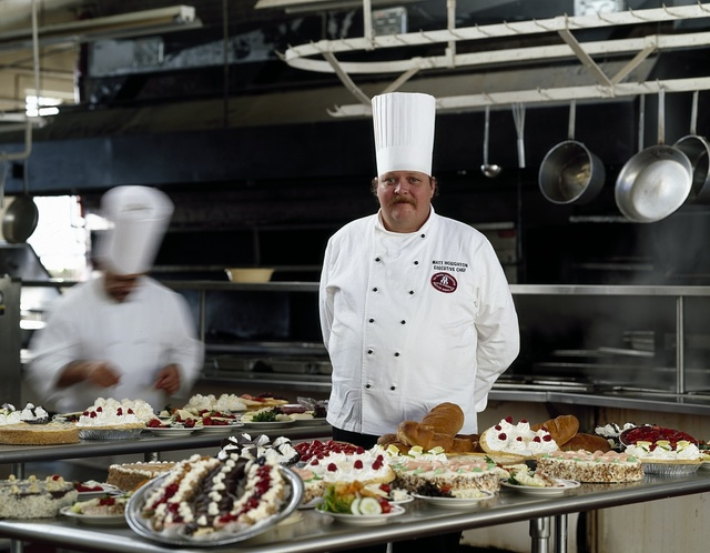 Chef and the pastry table at the Mount Washington Hotel and Resort, Bretton Woods, New Hampshire