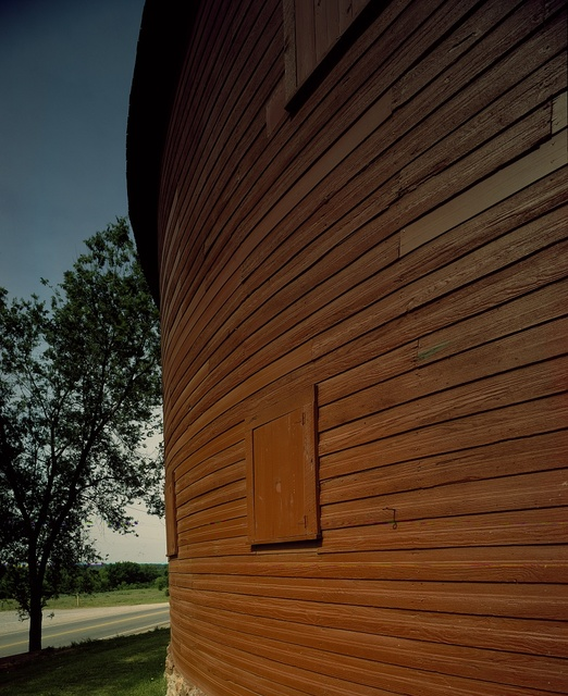 Close look at the outside of a round barn on U.S. 66 near Arcadia, Oklahoma