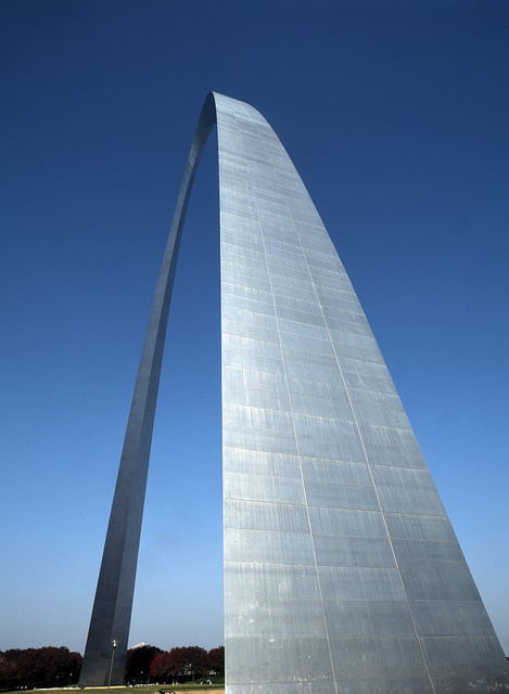 Close-up view of the Gateway Arch, the symbolic gateway to the West (although there's a great deal of midwest to go before the west is reached) and the centerpiece of the Jefferson National Expansion Memorial, St. Louis, Missouri