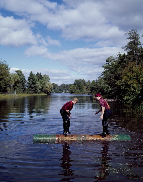 Contestants at a Scheer's Lumberjack Show on the Namekagon River, Hayward, Wisconsin