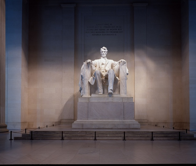Daniel Chester French's statue of Abraham Lincoln at the Lincoln Memorial, Washington, D.C.