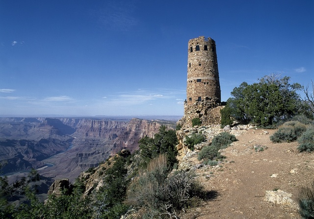 Desert View Watchtower, located on the South Rim of the Grand Canyon within Grand Canyon National Park, Arizona
