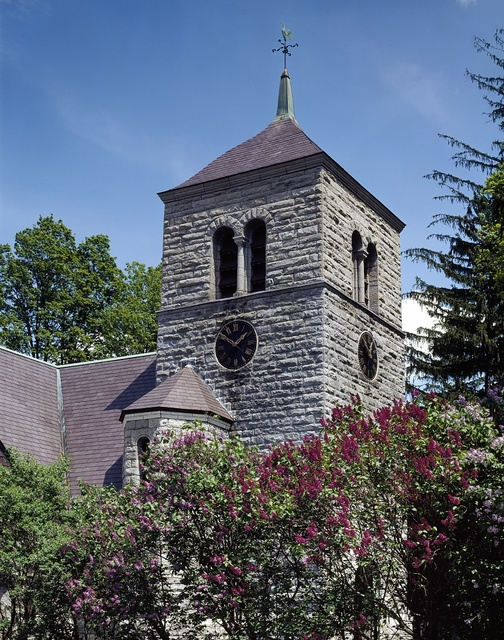 Detail of a church steeple in New England