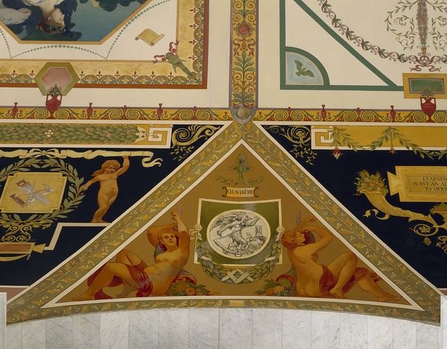 Detail of artwork in the Thomas Jefferson Building of the Library of Congress, Washington, D.C.