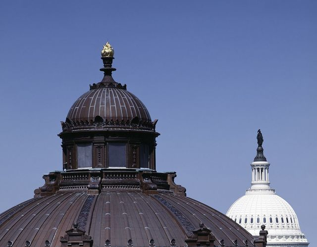 Domes of the Library of Congress Thomas Jefferson Building and the U.S. Capitol, Washington, D.C.