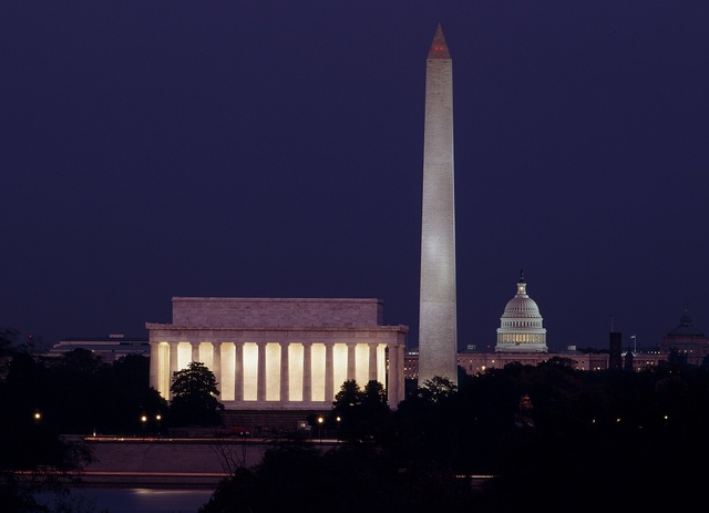 Dusk view of the Lincoln Memorial, Washington Monument and U.S. Capitol, Washington, D.C.