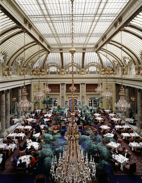Elegant dining room at the Sheraton Palace Hotel, once the west's renowned Palace Hotel, San Francisco, California.