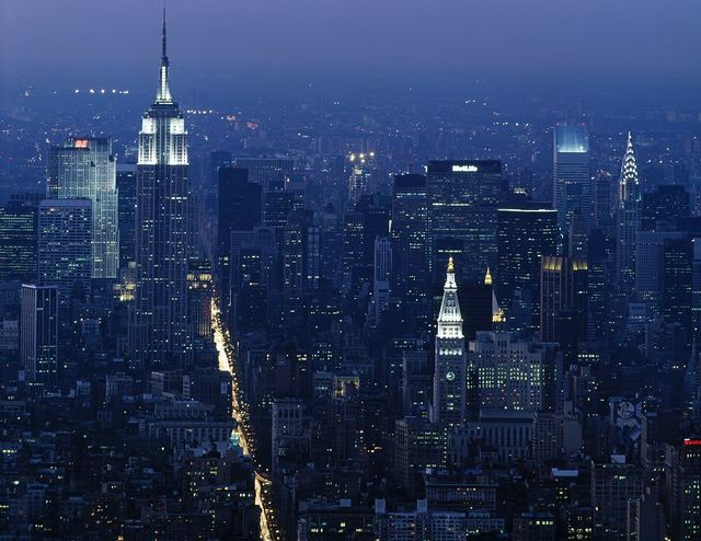Empire State Building at night. View from the World Trade Center during the 1980s, New York, New York