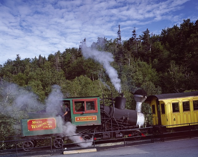 Engine and coach of the world first cog railway, which climbs Mount Washington in New Hampshire