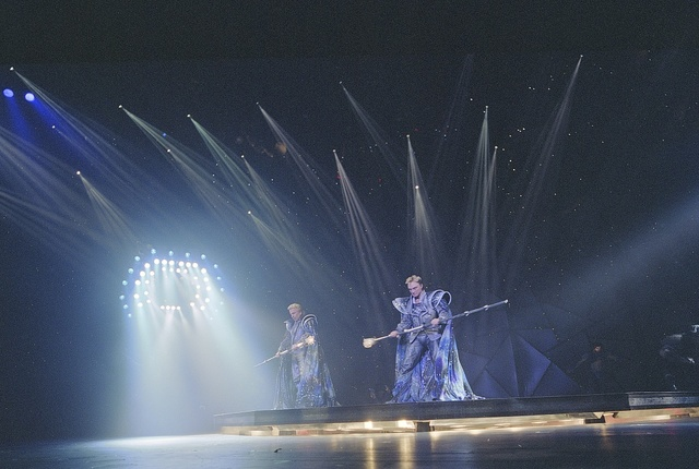 Famed illusionists Siegfried and Roy onstage at the Mirage Hotel, Las Vegas, Nevada