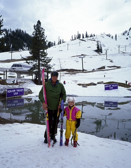 Father and daughter at the Squaw Valley Ski Resort, Lake Tahoe, California