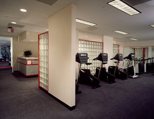 Fitness center at an office building, photographed during the 1980s