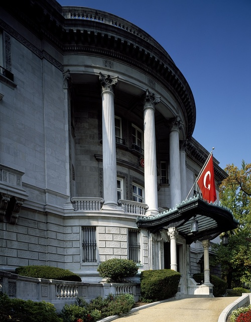 Front entrance to the Embassy of Turkey in Washington, D.C.