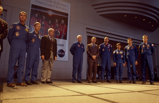 Governor George W. Bush at a ceremony with Astronaut John Glenn in Houston, Texas