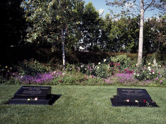 Graves of Patricia and Richard Nixon at the Nixon Library and birthplace, Yorba Linda, California