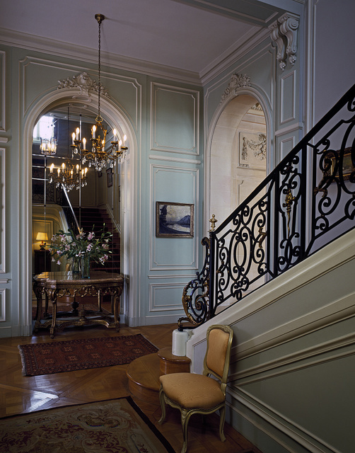 Hall and stairway in the home of the Belgian ambassador to the U.S., Washington, D.C.