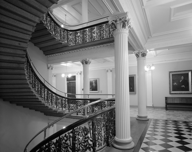 Hallway and staircase in the U.S. Treasury Department building, Washington, D.C.