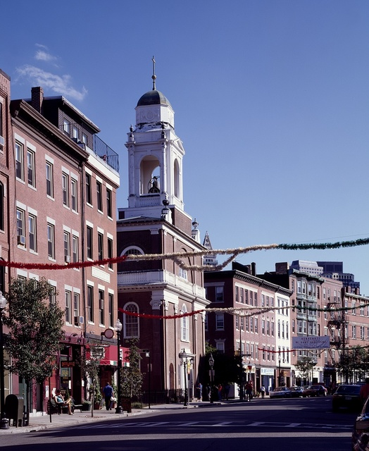 Hanover Street, in front of the 1804 Saint Stephen's Roman Catholic Church, is decked out for the Festival of Saint Agrippina, Boston, Massachusetts