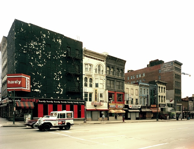 Historic storefronts at 11th and E Streets, N.W., Washington, D.C., were photographed before they were demolished to make way for new buildings