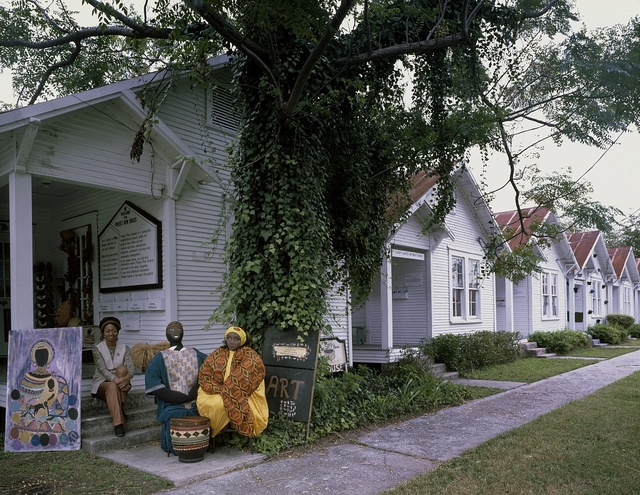 Houston artists in front of Project Row House, a public-art project in 22 shotgun houses in the historic Third Ward, Houston, Texas