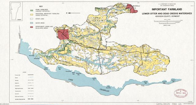 Important farmland, lower Otter and Dead Creeks watershed ... on topographical map of vermont, tourist map of vermont, geologic map of vermont, political map of vermont,