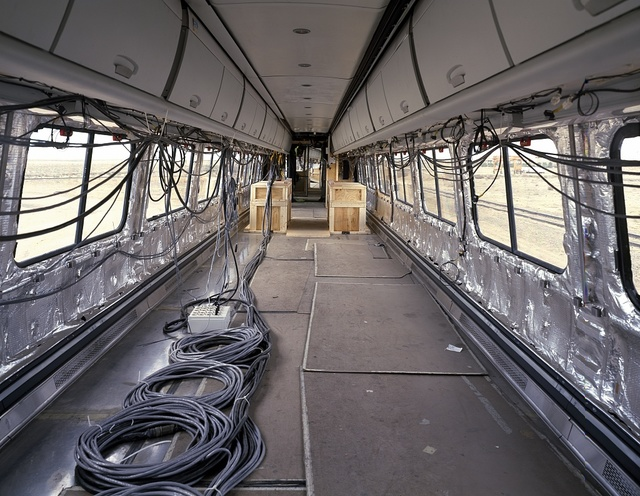 Interior of a prototype Acela Express Amtrak car during testing in Pueblo, Colorado