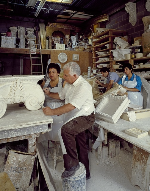John Barianos, who supervised the artisans who restored Washington's Union Station in the 1980s, shown with his family. Washington, D.C.