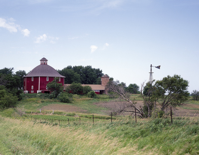 Joshua Secrest's octagonal barn near Herbert Hoover's birthplace in West Branch, Iowa