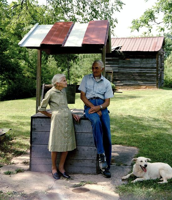 Kate Carter with a neighbor at the water well at the log cabins where photographer Carol M. Highsmith's great-grandfather, Pleasant Jiles Carter (1847-1931) and grandfather, Yancey Ligon Carter (1873-1947) were born and lived in Wentworth, North Carolina