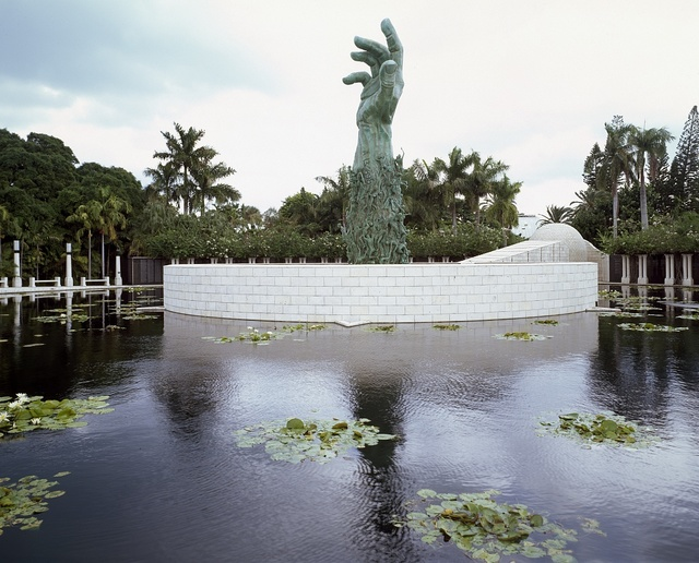 Kenneth Triester created the Sculpture of Love and Anguish at the Holocaust Memorial in Miami Beach, Florida