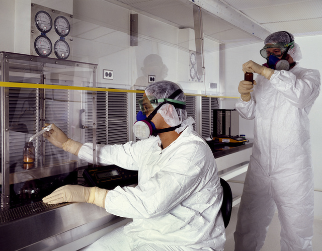 Laboratory technicians at a pharmaceutical lab in Rockville, Maryland