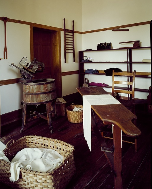"Laundry and ironing room in Hancock Shaker Village, founded by ""Believers in Christ's Second Appearing,"" or ""Shakers,"" in the early 19th Century, Pittsfield, Massachusetts"