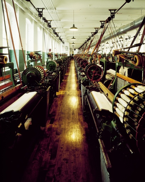 Looms inside the old Boott Cotton Mill No. 6 in Lowell, Massachusetts